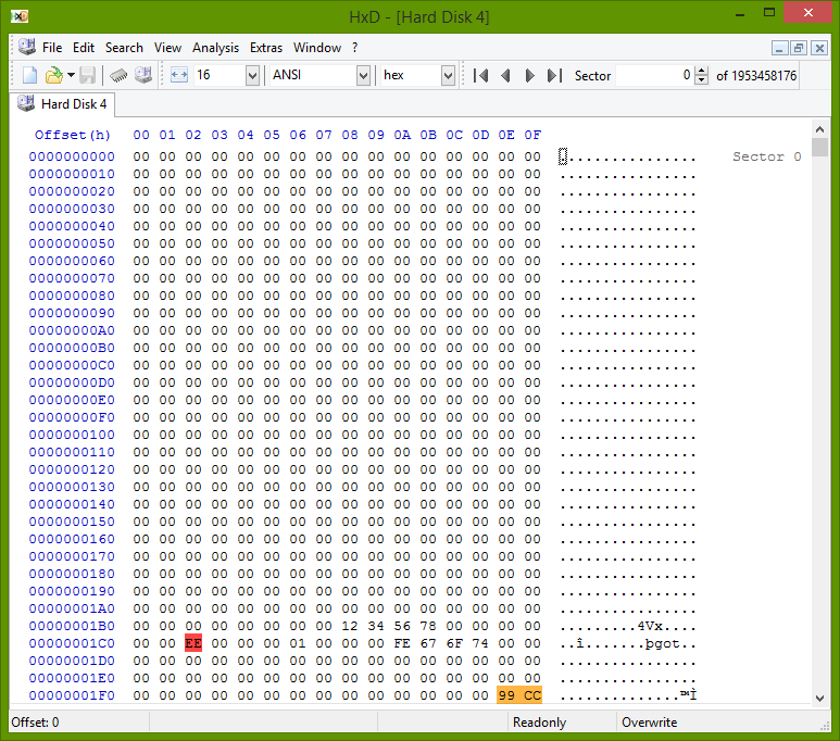 A slice of the disk's sector 0 in a hex editor