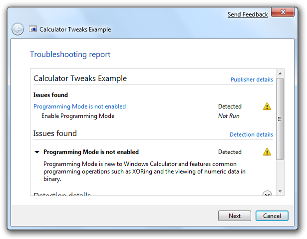 Troubleshooting Pack Wizard, detailed report