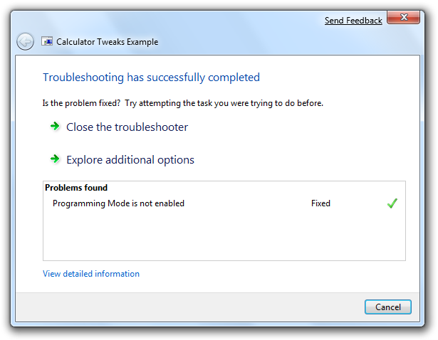 Troubleshooting Pack Wizard, completion summary