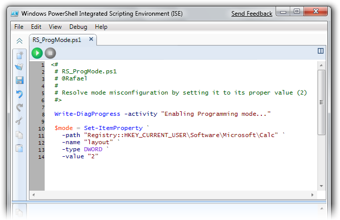 Resolver script in PowerShell Integrated Scripting Environment (ISE)