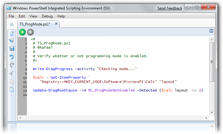 Verifier script in PowerShell Integrated Scripting Environment (ISE)